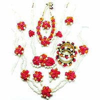 Mogra Pearl Pink Orange Complete Flower Jewelry Set