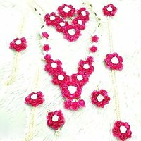 pink White Flower Jewelry Set with 2 Necklaces Earrings