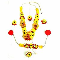 Party Wear Red Yellow Flower Jewelry Set With Earrings 1 Bracelet