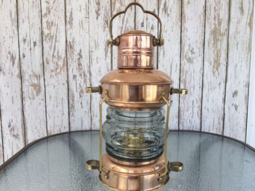 Nautical Maritime Brass & Copper Anchor Oil Lamp Ship Lantern Boat Light