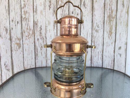 Marine Brass Anchor Oil Lamp Nautical Maritime Ship Lantern Boat Light Collectib