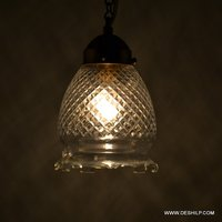 HEAVY CUTTING GLASS WALL HANGING LAMP