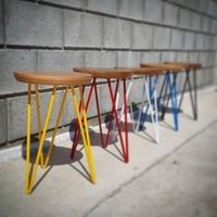 Iron Rod Bar Stool with Wooden Seat