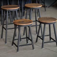 Iron Pipe Bar Stool with Mango Wood Seat