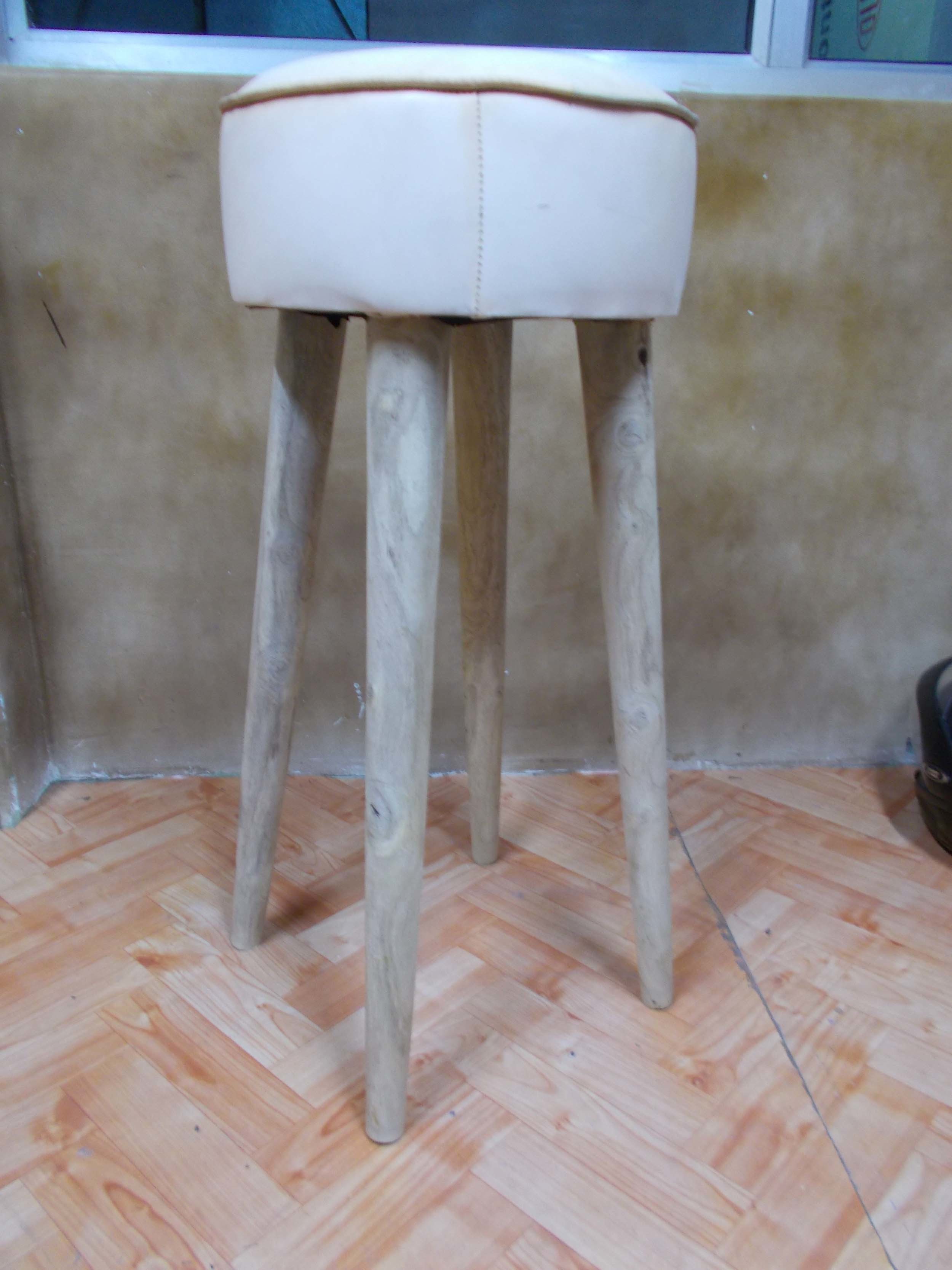 Cycle Bar Stool with Leather Seat