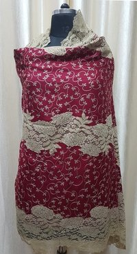 Fine wool 5 side lace with aari embroidery