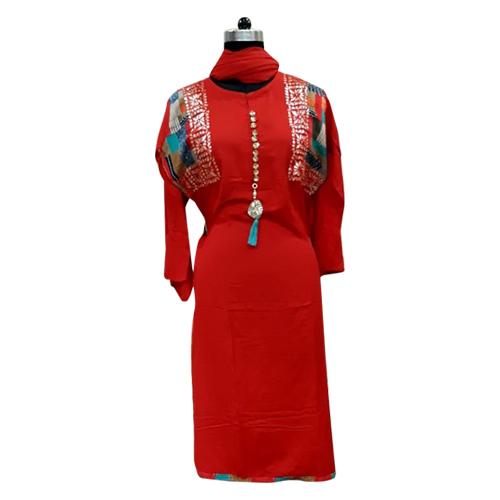 Red Ladies Cotton Suits