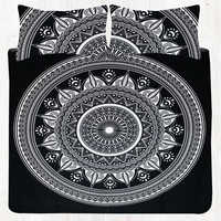 Black and White Hippie Mandala Bedding Set Queen Size Tapestry Bedsheet Set