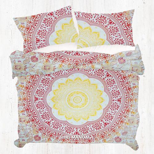 Orange Yellow Indian Mandala Queen Size Duvet Cover Set Quilt Cover Set