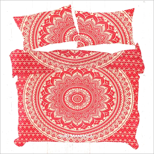 Red Golden Gold Indian Mandala Duvet Cover Set Quilt Cover Set
