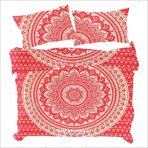 Red Golden Gold Indian Mandala Duvet Cover Set Quilt Cover Set