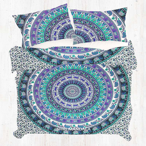 Purple Black and Green Round Elephant Mandala Duvet Quilt Cover Set