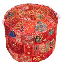 Patchwork Pouf Ottoman Cover