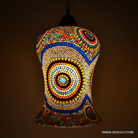 GLASS WALL DECORATED MOSAIC WALL HANGING LAMP