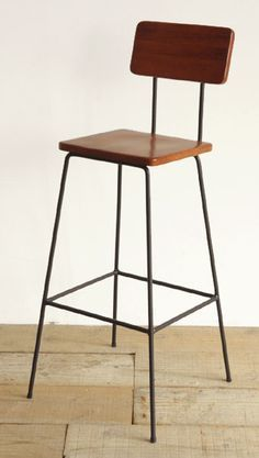 Industrial Iron Bar Chair With Leather Seat Industrial Iron Bar
