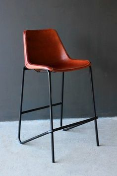 Bar Chair with Leather Seat and Pointed Legs