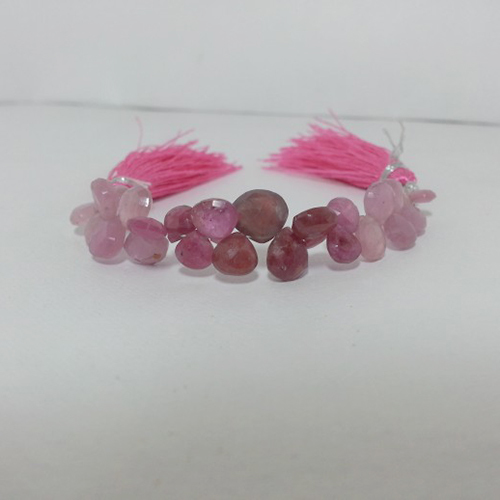 Natural Ruby Heart Shaped Faceted Briolette Beads