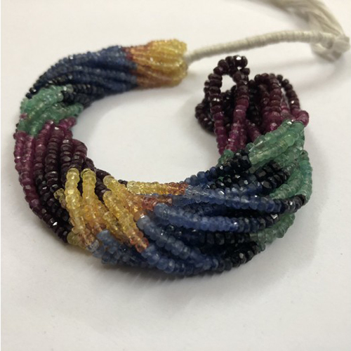 Natural Multi Precious Faceted Rondelle Beads