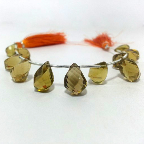 Natural Champagne Quartz Faceted Twisted Drops Beads Strand
