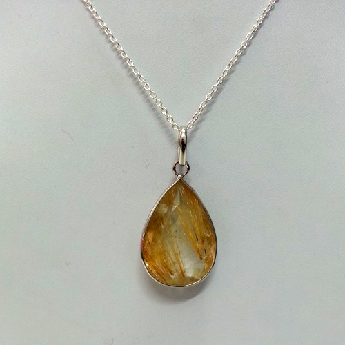 Pear Shaped Golden Rutilated Quartz Pendant