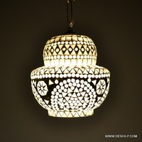 WHITE STONE MOSAIC SHAPE GLASS WALL HANGING