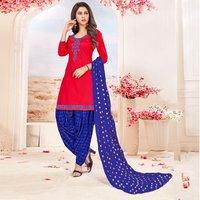 Designer Cotton Embroidered Patiala Suit