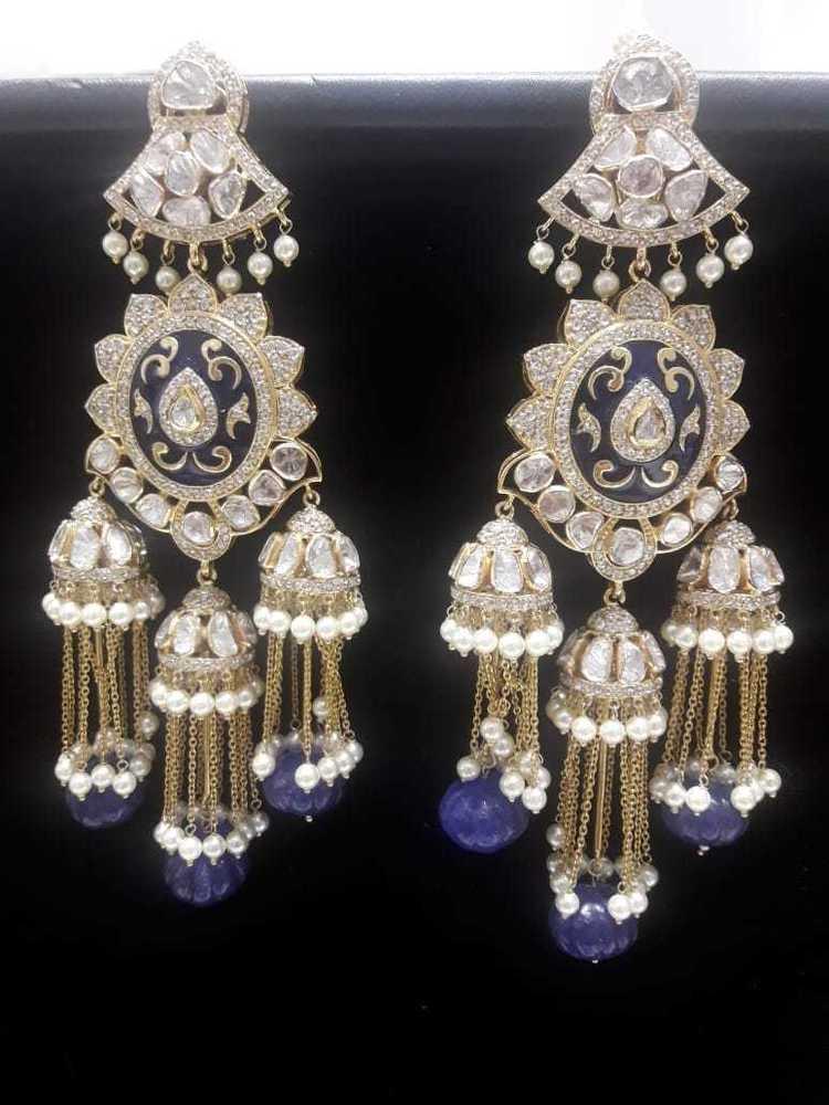 d4fcab699c095 Designer Kundan Meena Earrings - Designer Kundan Meena Earrings ...