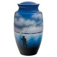 Fisherman Hand Painting Urn