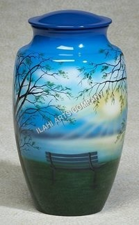 The Bench Scene Hand Painted Urn