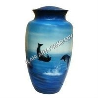 Playing Dolphins Hand Painted Urn