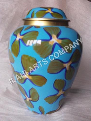Simplicity Green Flower On Blue Cloisonne Cremation Urns