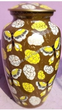 Yellow Butterfly Cloisonne Cremation Urns