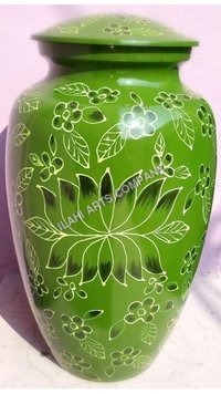 Beautiful Green Lotus Cloisonne Cremation Urns