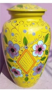 Flowers on Yellow Cloisonne Cremation Urns