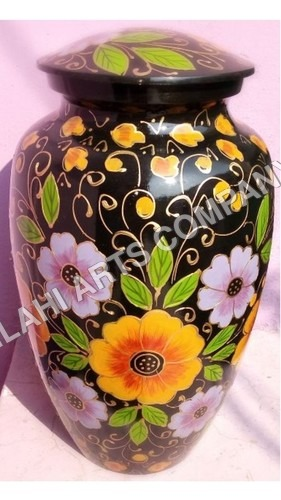 Beautiful Flowers On Black Cloisonne Cremation Urns