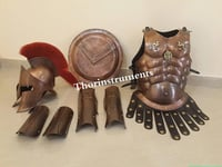 THORINSTRUMENTS (with device) Medieval King Spartan Copper 300 Helmet W/RED Plume Muscle Jacket Leg ARM Guards