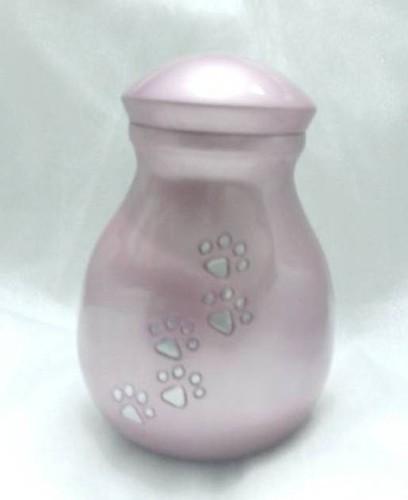 New Design Fancy Pink Paw Print Pet Urns