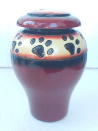 Red Paw Print Pet Urns