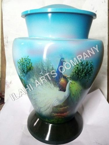 Beautiful Peacock Hand Painted Urn
