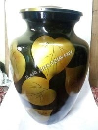 Yellow Leafs Of Life Simplicity Hand Painted Urn