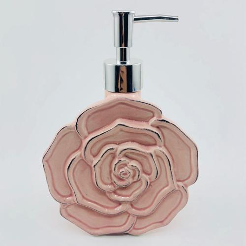 Rose Shape Ceramic Bathroom Soap Dispenser