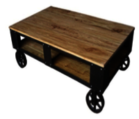 Iron And Wooden Combination Coffee Table