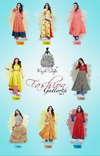 Kajal long designer kurtis with plazzo