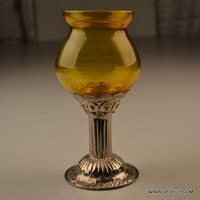 Colorful Printed Glass Votive, T-Light Votive , Decorative and Antique Inside & outside silver etching candle votive