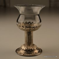 CLEAR GLASS T LIGHT CANDLE WITH METAL PILLAR
