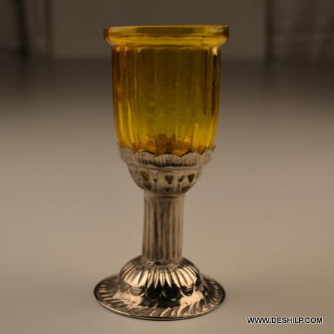 GLASS  METAL PILLAR  T LIGHT CANDLE HOLDER