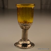 YELLOW CUTTING T LIGHT GLASS CANDLE WITH METAL PILLAR