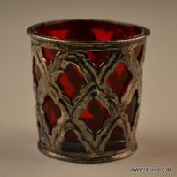 RED GLASS WITH METAL FITTING CANDLE HODLER