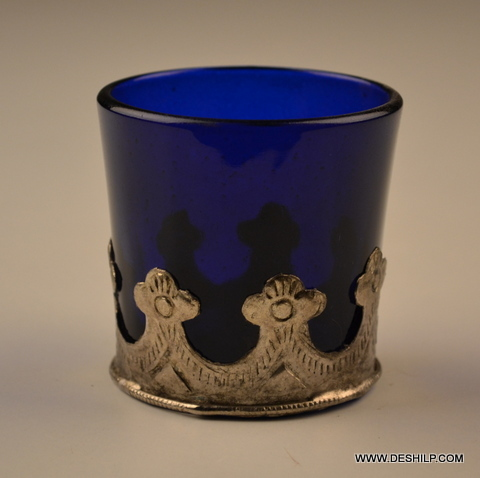 BLUE GLASS WITH METAL FITTING CANDLE HOLDER