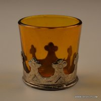 YELLOW GLASS T LIGHT CANDLE HOLDER